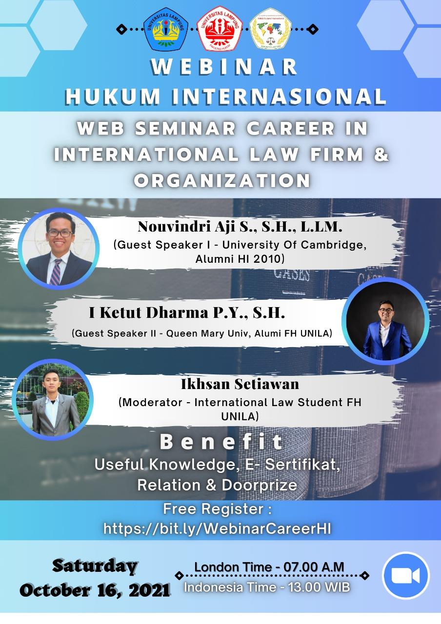 Sertifikat Sertifikat Webinar Career in International Law Firm and Organization